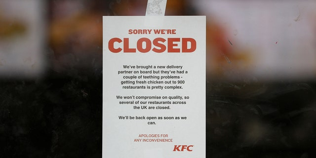 KFC restaurants across the the U.K. — like this one in Coalville, England — have closed until further notice.