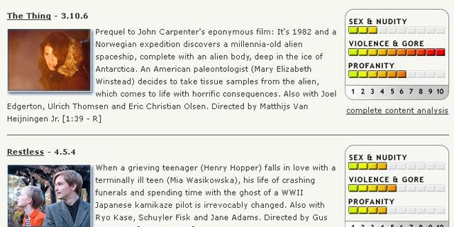 A screenshot of Kinds-in-Mind, a website that helps parents decide whether a movie is appropriate for their children.