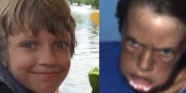 Picture of normal Kylan McKittrick (left) and the moment a roller coaster takes a stomach churning plunge (right).