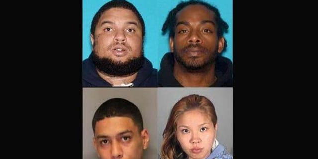 Mug shots of Emmanuel Espinoza, 26, (top left), Jaylon Brown, 32, (top right), Larry Young, 23, (bottom left) and Lovely Rauzol, 27, (bottom right). (Vallejo Police Department)