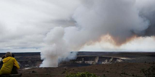 Steam and gas rise from Kilauea's summit crater in Volcanoes National Park, Hawaii on Wednesday.