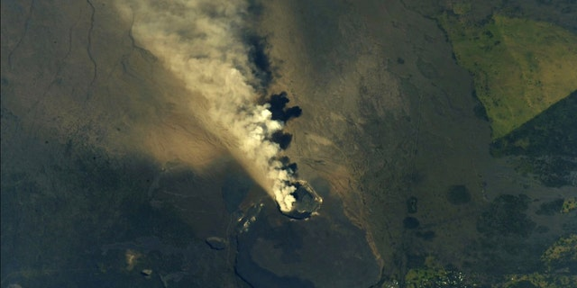 View of the Hawaii's Kilauea Volcano from the International Space Station in this undated image obtained from social media and tweeted on May 13, 2018. (Andrew J. Feustel/NASA/via REUTERS)