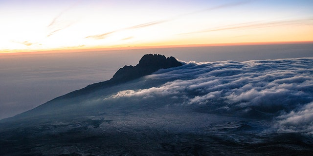 A view from the top of Mount Kilimanjaro, Tanzania.