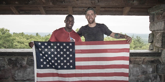 Cpl. Kionte Storey (left) and Jake Rath of the Steve & Alexandra Cohen Foundation, who will climb Mount Kilimanjaro in Tanzania in mid August.