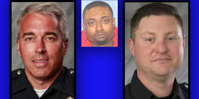 Veteran officers Antony Morelli, left, and Eric Joering were killed in a gun battle with violent criminal Quentin Smith, inset.