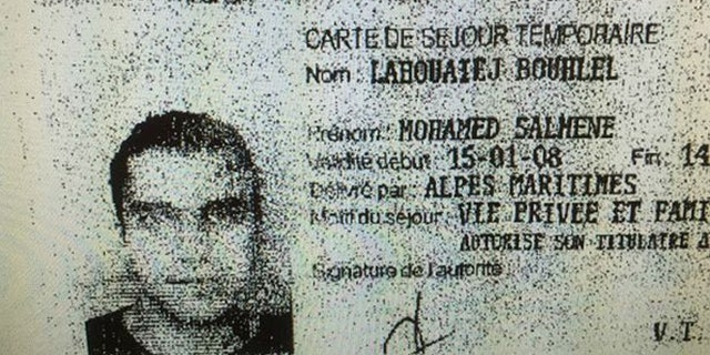 This ID, purportedly of the Nice terrorist who killed at least 84 people Thursday night, was found at the scene by police.