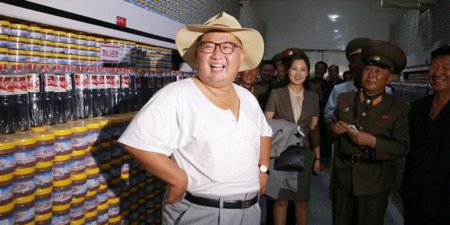 Kim Jong Un visited a fish-pickling factory.
