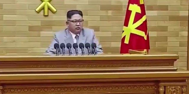 Kim Jong Un delivering his annual New Year's Day address.