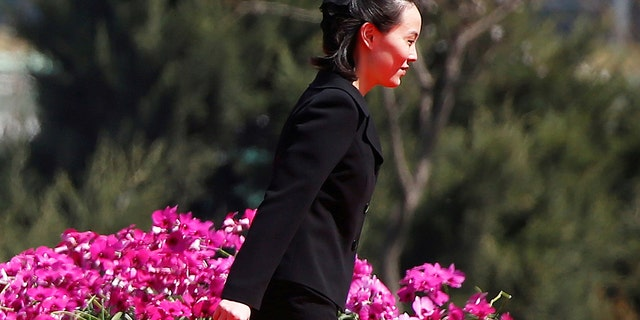Kim Yo Jong, sister of North Korean leader Kim Jong Un, attends the opening ceremony of a residential complex.
