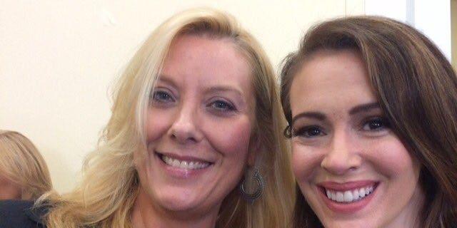Kimberley Johnson with actress Alyssa Milano.