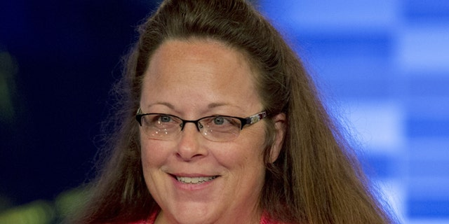 Kentucky county clerk Kim Davis appears on Fox News Channel's 'The Kelly File' in New York on September 23, 2015.