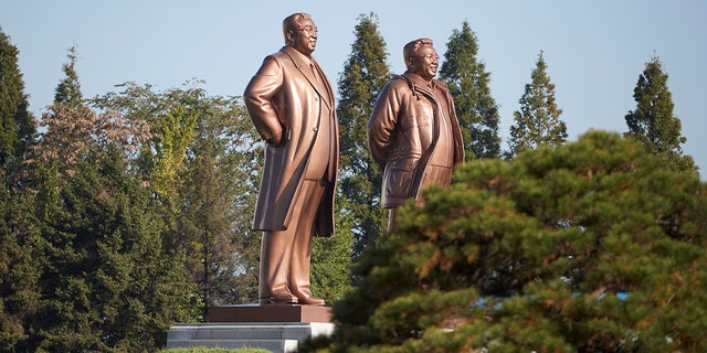 Statues of former leaders Kim Il Sung and Kim Jong Il are seen in Wonsan, North Korea