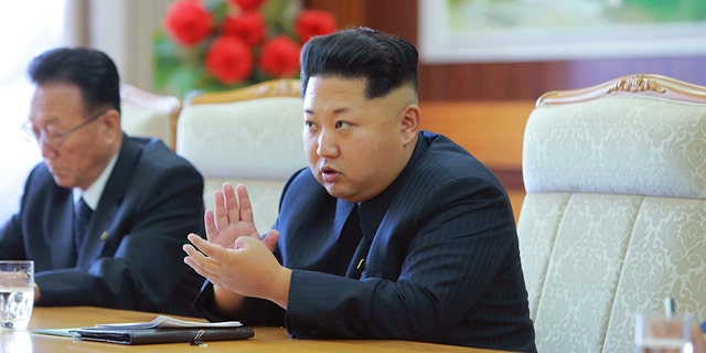 North Korean leader Kim Jong Un receives a Cuban delegation (not pictured), in this undated photo released in Pyongyang September 8, 2015.