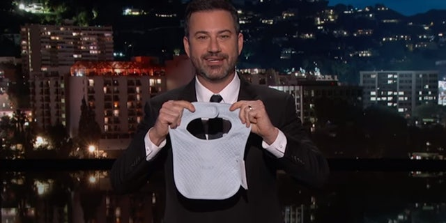 Jimmy Kimmel shows off items he purchased from the Trump family merchandise store and shows that most of the items were made abroad.
