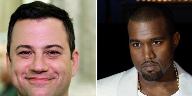 """FILE: This combo of photos shows Jimmy Kimmel and Kanye West. West appeared on """"Jimmy Kimmel Live"""" Wednesday night Oct. 9, 2013 to discuss his feud with Kimmel."""