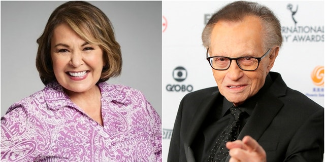 "Larry King praised Roseanne Barr on the success of ""Roseanne"" and for its ""great political balance"" on April 3, 2018."