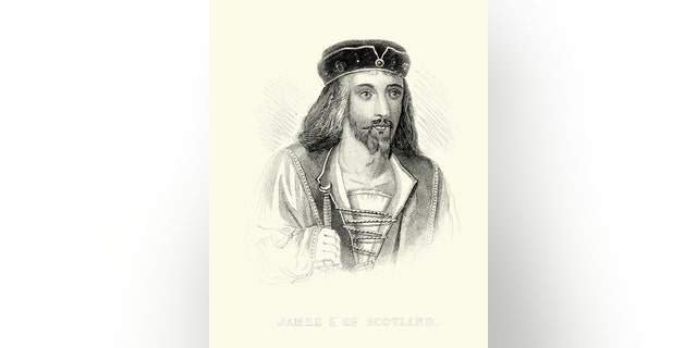 Vintage engraving of King James I of Scotland. King of Scotland from 1406, was the son of King Robert III and Annabella Drummond. (iStock)