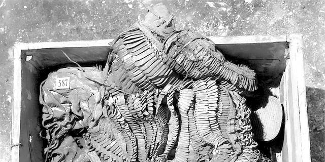 King Tutankhamun's armor photographed after its discovery in 1922