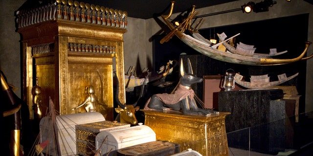 File photo - View of the Treasury chamber of Pharaoh Tutankhamun's tomb ahead of the opening of a major exhibition on the Ancient Egypt called 'Tutankhamun, his Tomb and his Treasures' in Paris May 11, 2012. The exhibition presented three of Tutankhamun's tomb chambers, which were reconstructed true to the originals and their dimensions, and over 1,000 replicas of the most important objects, fashioned by the best Egyptian craftsmen. (REUTERS/Charles Platiau)