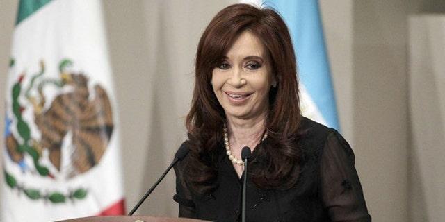 Former Argentine President Cristina Fernandez de Kirchner at a press conference.
