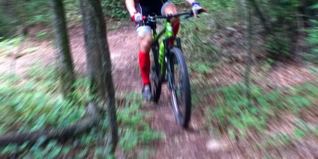 Kirk Smith mountain biking in Athena, Ga.