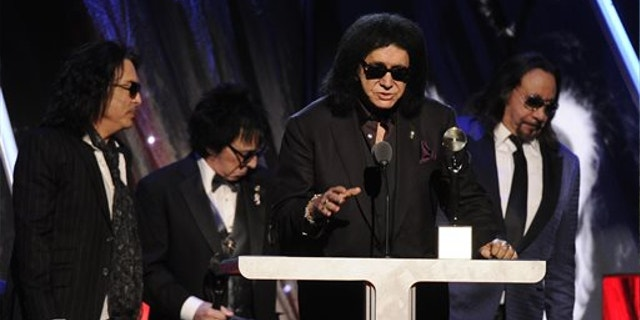April, 10, 2014: Hall of Fame Inductees, KISS, Paul Stanley, Peter Criss, Gene Simmons, and Ace Frehley speak at the 2014 Rock and Roll Hall of Fame Induction Ceremony in New York.