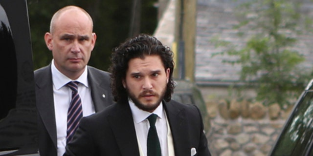 'GOT' groom Harington makes his way to the wedding ceremony to marry long-time girlfriend, Leslie.