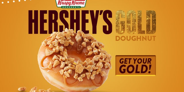 The Gold doughnut is based off Hershey's newest Gold candy bar -- the fourth flavor ever released in the company's history.