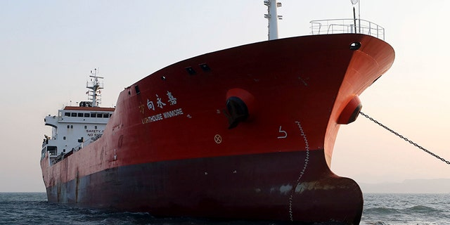 Dec. 29, 2017: The Lighthouse Winmore, a Hong Kong-flagged ship, is seen in waters off Yeosu, South Korea.