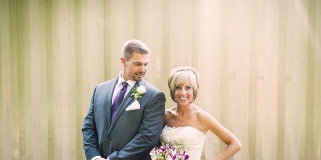 Kristin Nyerges and her husband, Jason, are pictured on their wedding day. Kristin was diagnosed with melanoma while pregnant. She had the mole surgically removed under localized anesthesia and is now cancer free.