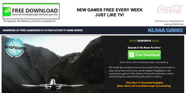 This screen shot shows the homepage of Kuma Games.