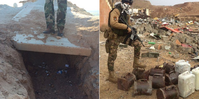 At left, Kurdish soldier stands atop an empty ISIS foxhole. At right, a member of Iraqi National Security Force stands over dismantled IEDs.