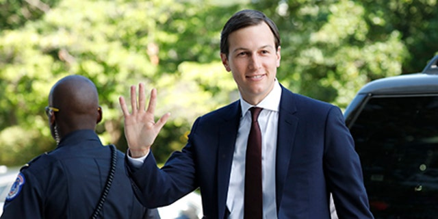 White House Senior Adviser Jared Kushner waves as he arrives for his appearance before a closed session of the Senate Intelligence Committee as part of their probe into Russian meddling in the 2016 U.S. presidential election, on Capitol Hill in Washington, U.S. July 24, 2017. REUTERS/Aaron P. Bernstein - RTX3CP4H