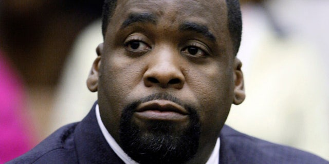 Former Detroit Mayor Kwame Kilpatrick sits at his sentencing in Wayne County Circuit Court on an obstruction-of-justice conviction, May 25, 2010. (Associated Press).
