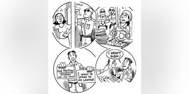A collection of images from a Princeton handout aimed at providing legal advice to illegal immigrants.