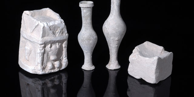 Examples of cultic vessels uncovered in one of the structure's rooms.
