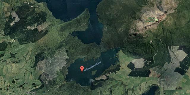A satellite image of Lake Rotomahana.