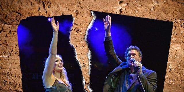 Miranda Lambert and Blake Shelton perform during Playin' Possum! The Final No Show Tribute To George Jones