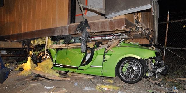 Cesar Castro Rodriguez crashed the luxurious Lamborghini Gallardo Superleggera underneath a Costa Mesa, Calif. trailer.