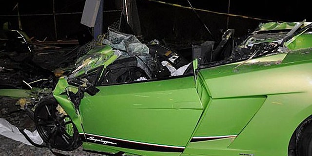 Emergency personnel spent 45 minutes cutting through the passenger side of the super car.