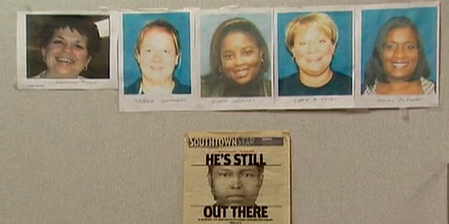 Lane Bryant shooting victims, (l to r.), Jennifer Bishop, 34; Sara Szafranski, 22; Connie Woolfolk, 37;  Carrie Chiuso, 33; and Rhoda McFarland, 42.
