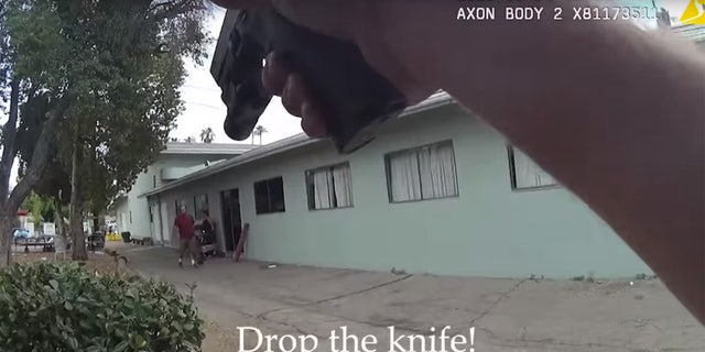 An LAPD officer can be seen telling Perez to drop the knife he was holding.