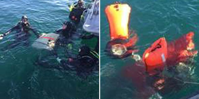 Feb. 7, 2016: These images show recovered debris from a small airplane that went down off the Southern California coast Friday. (Los Angeles County Sheriff's Department)