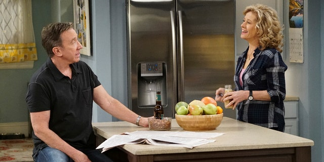 "Tim Allen (left) as Mike Baxter and Nancy Travis as Vanessa Baxter in the canceled ABC sitcom ""Last Man Standing."""