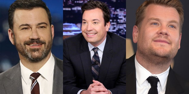 Frim l-r: Late night hots Jimmy Kimmel, Jimmy Fallon and James Corden.