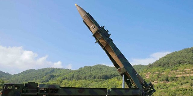 The North Korean government released a picture of the missile preparing to be launched from the country's northwest on Tuesday, July 4, 2017.