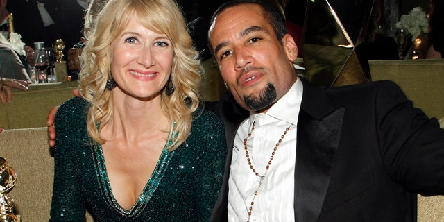 Laura Dern (left) poses with now ex-husband Ben Harper inside the HBO after party after the 69th annual Golden Globe Awards in Beverly Hills, California January 15, 2012.
