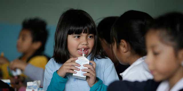 Jan. 13, 2015: Hazel Loarca, 7, drinks her milk in the cafeteria area at Kingsley Elementary School