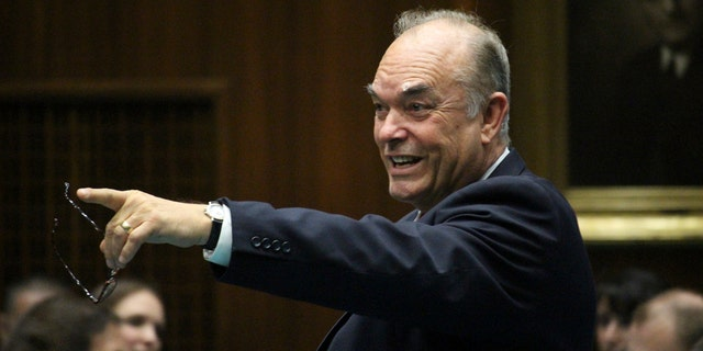 State Rep. Don Shooter is seen on the floor of the Arizona House in Phoenix, Ariz. Shooter has become the first state lawmaker in the nation to be expelled for sexual harassment.