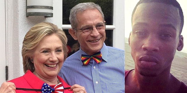 Democratic donor Ed Buck is seen with Hillary Clinton in 2016. Gemmel Moore, who died inside Buck's home, is seen at right.